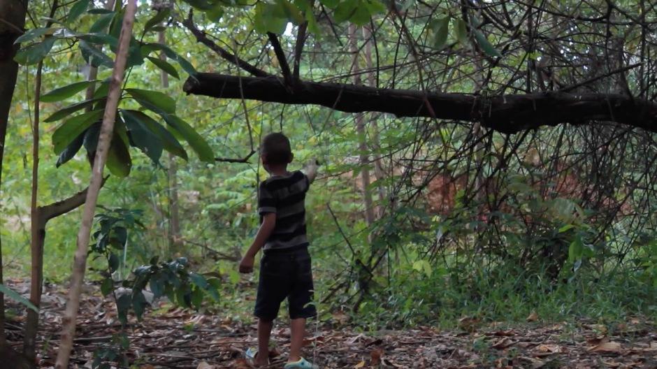 Niño juega en la quebrada